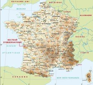 Localisation du secteur d'observations sur la carte de France